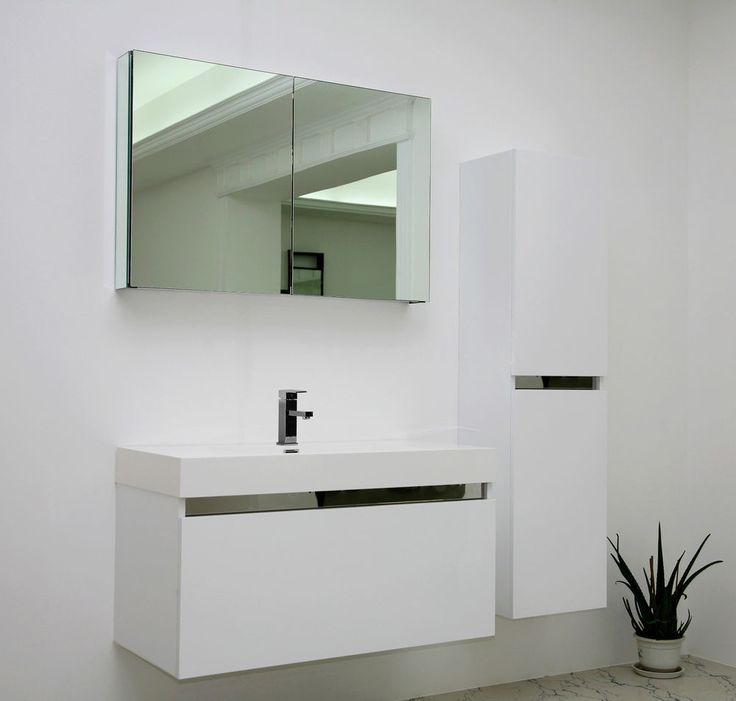 Contemporary Art Sites White Gloss Modern vanity unit Wall Hung Contemporary MDF Mirror Cabinet in Home Furniture u DIY Bath Sinks