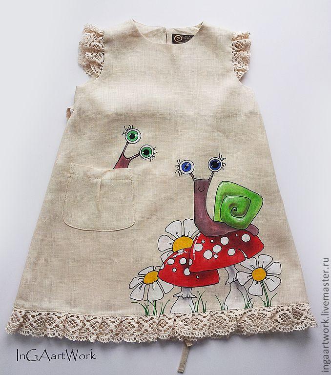 Льняное детское платье.Ручная роспись / Linen dress with hand painting for girl