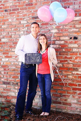 Balloons not for gender reveal but for pregnancy announcement??? Could use oversized balloons too... Hmmmm :)