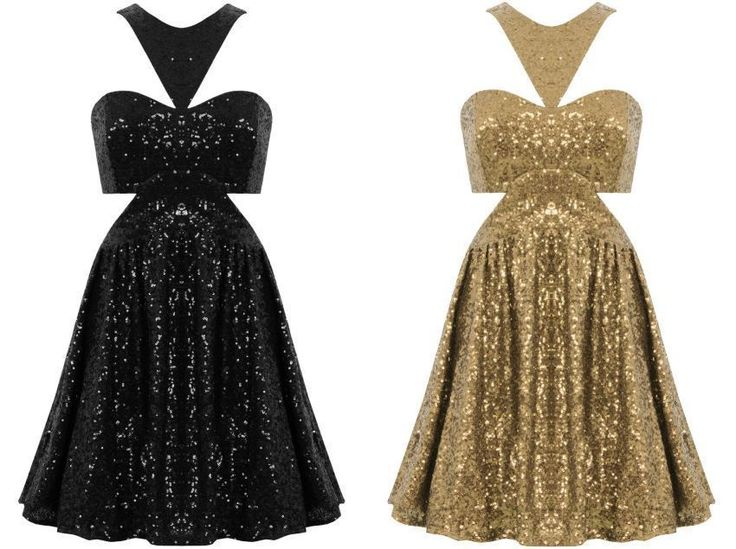 Awesome Awesome LADIES GOLD BLACK CUT OUT SLEEVELESS SEQUIN PARTY SKATER DRESS UK PROM FORMAL  Cool