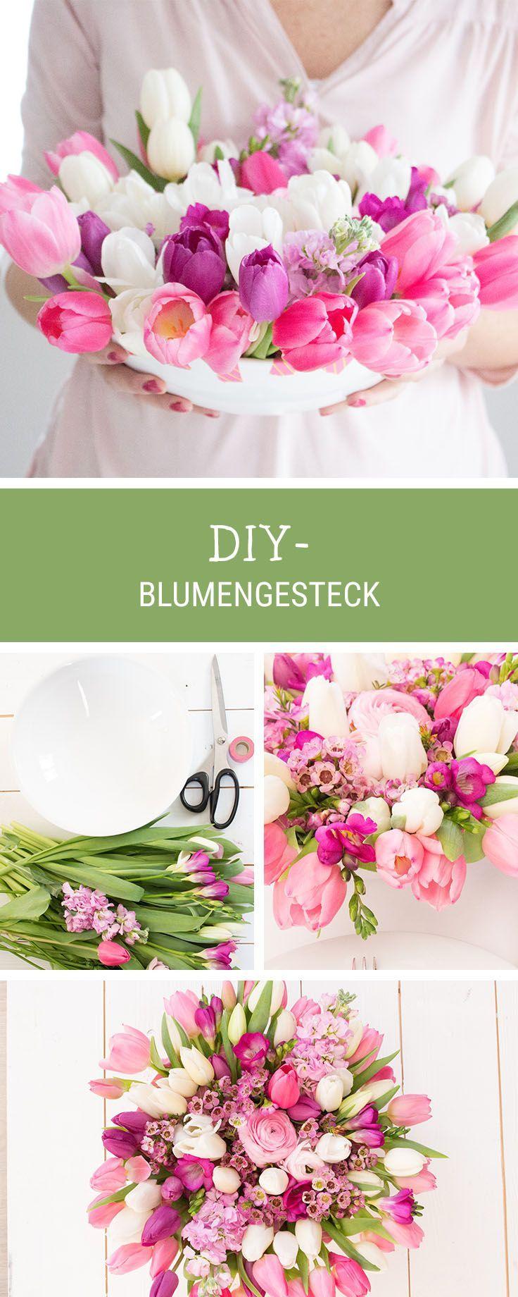 Wir zeigen Dir, wie Du ein Blumengesteck für den Frühling schön in Szene setzt / how to arrange a spring floral bouquet via DaWanda.com