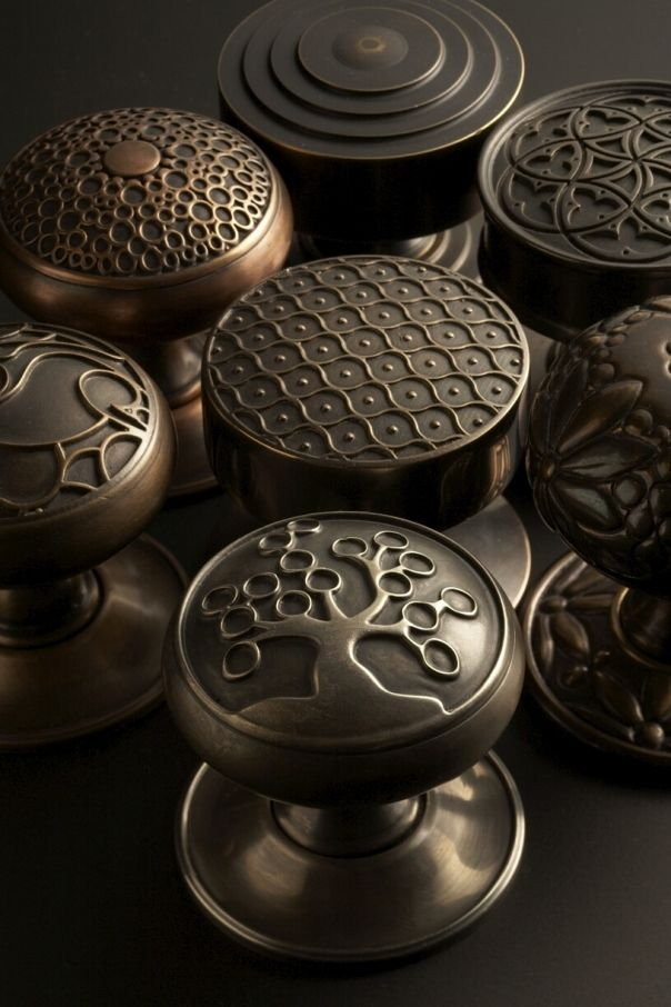 Beautiful Door Knobs from SA Baxter, finished in various hues of antique brass, antique bronze, and antique nickel.  A fusion of modern fabrication technology and old world craftsmanship allows for design flexibility for custom hardware.