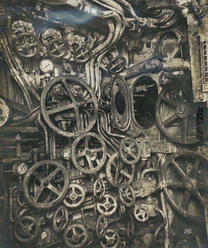 Control room of the UB-110 German submarine, circa 1918