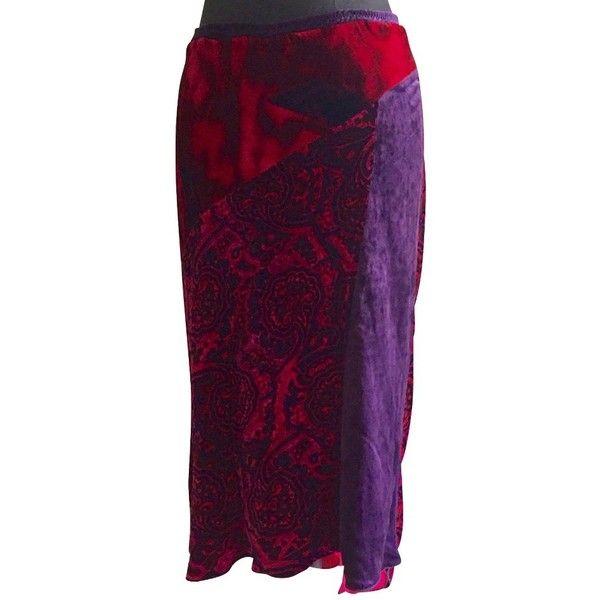 Pre-owned Velvet from skirt (6.915 RUB) ❤ liked on Polyvore featuring skirts, black, velvet slip, print skirt, elastic waistband skirt, velvet skirt and patchwork skirts