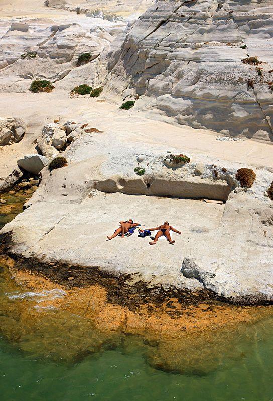 Just relaxing on the lunar landscape of the famous Sarakiniko beach, on Milos island #Greece #Cyclades #kitsakis