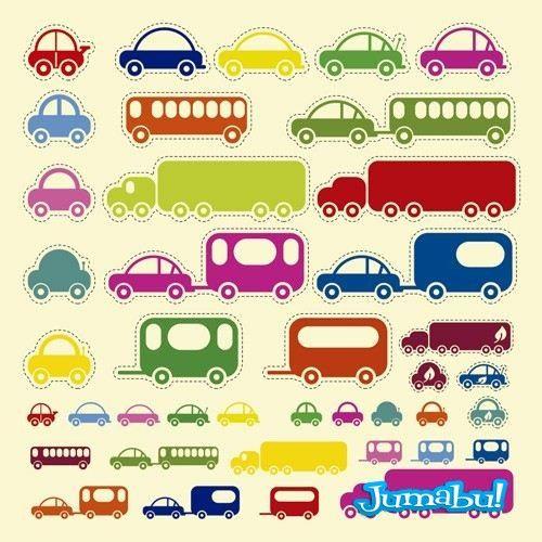 Camiones, Colectivos, Buses, Autos en Vectores Infantiles