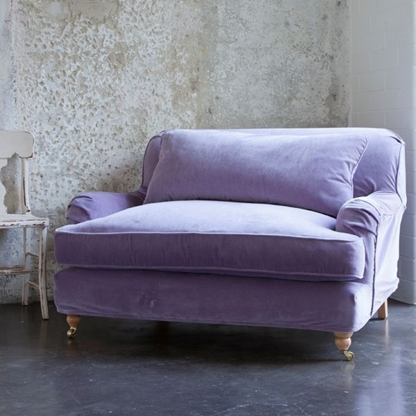 The Portobello Chair and 1/2 extra large, extra comfy. Sink into the heavenly down & feather cushions. Handmade by quality craftsman in Los Angeles using kiln dried hardwoods and eight-way hand tied construction. Available in Amethyst Velvet as shown from Rachel Ashwell Shabby Chic.