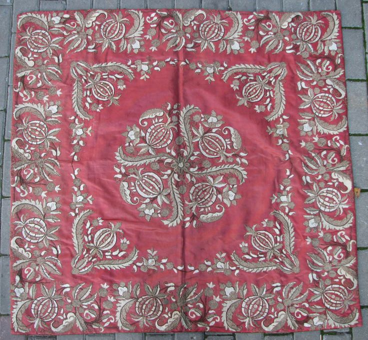 Late-Ottoman silk 'bohca' (wrapper) with metal thread embroidery, 19th century.