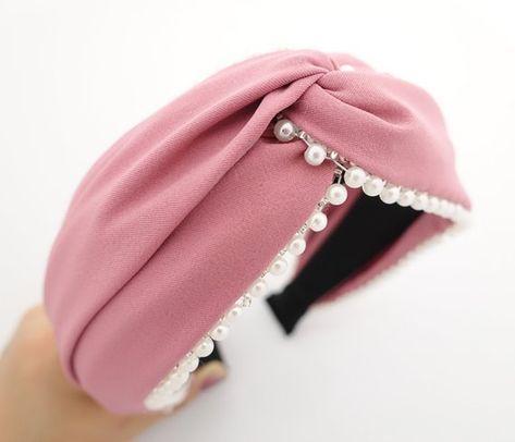 Elegante pérola guarnição borda headband cruz hairband acessório de cabelo mulher   – Balacas