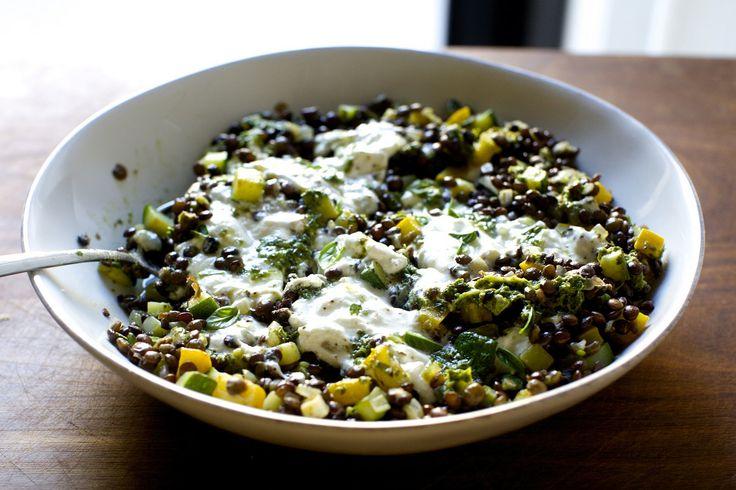 burrata with lentils and basil vinaigrette00