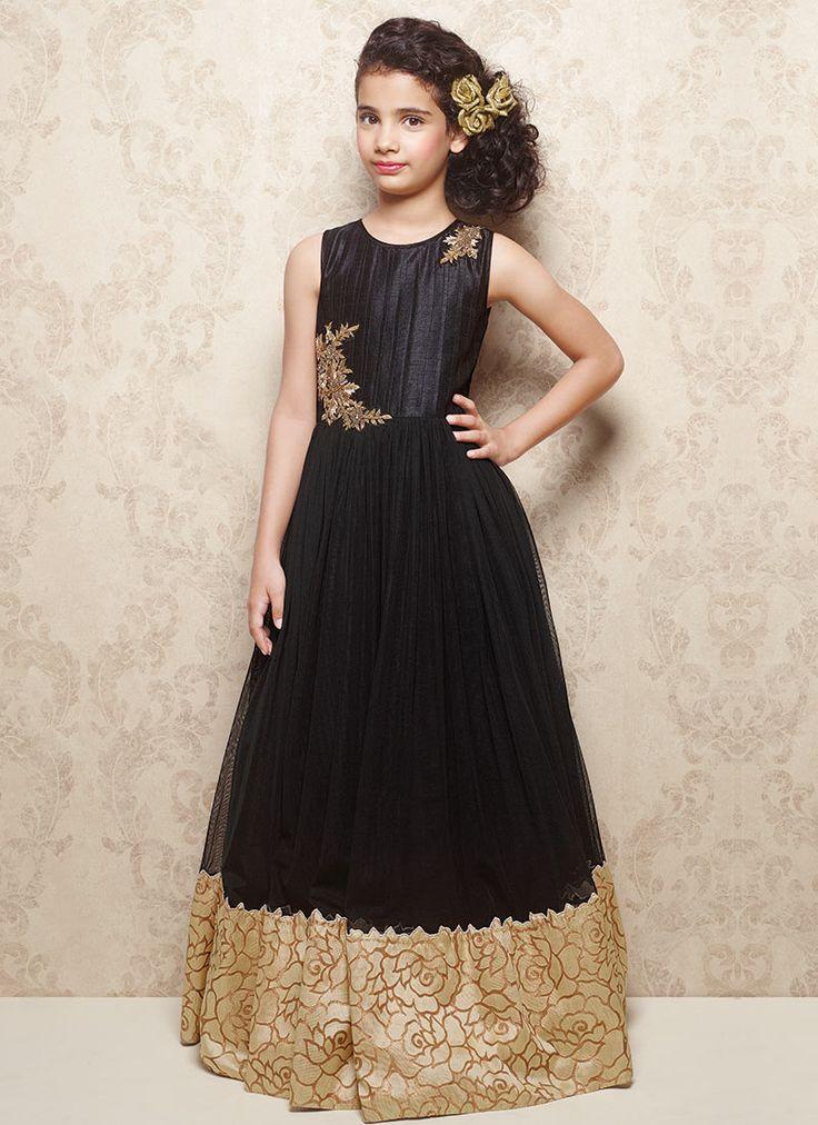 Doll Black Net Kids Gown