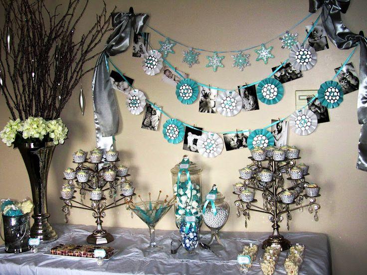 Winter wonderland baby shower centerpieces