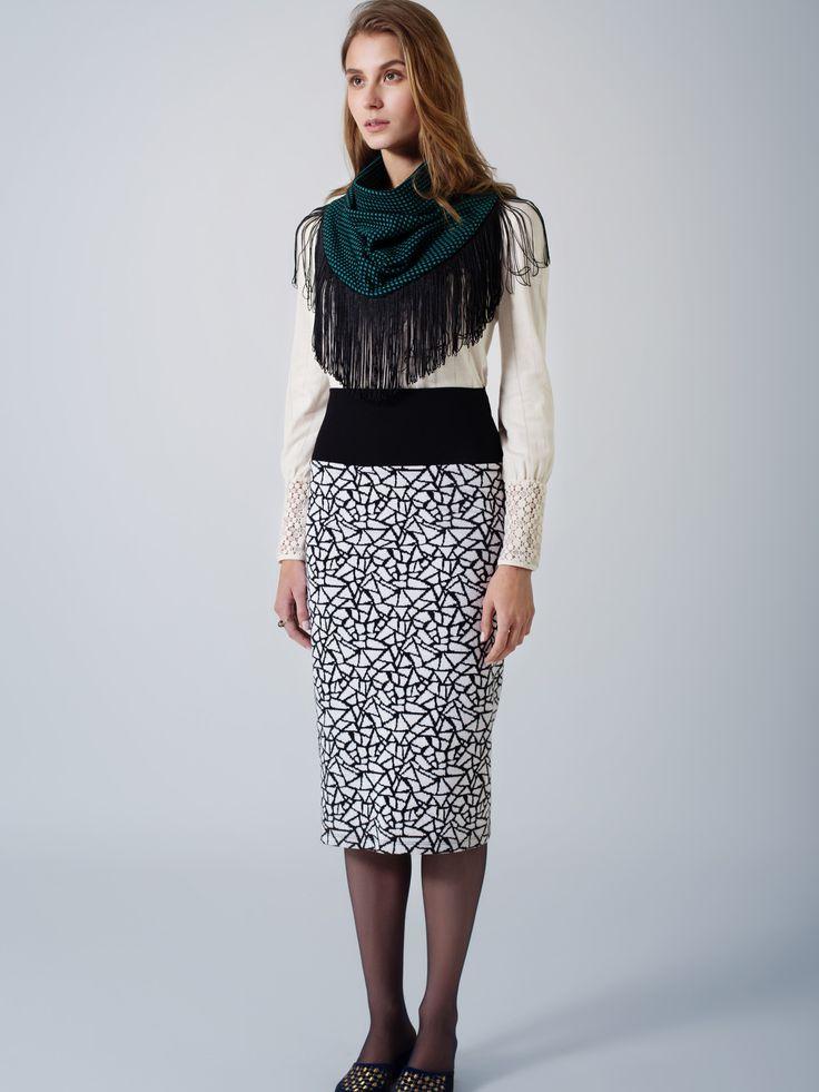 Organic cotton ecru tunic top / Comfy tube print skirt / Green black spot fringed unisex scarf