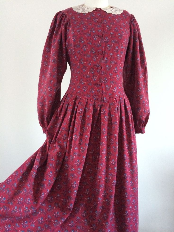 VINTAGE LAURA ASHLEY RED FLORAL COTTON WOOL LACE COLLAR AUTUMN DRESS 10-12UK