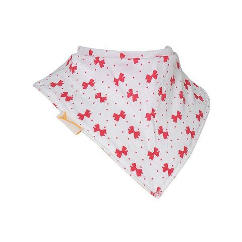 Baby Bandana Bib - White & Pink Small Bows – Baby Luno