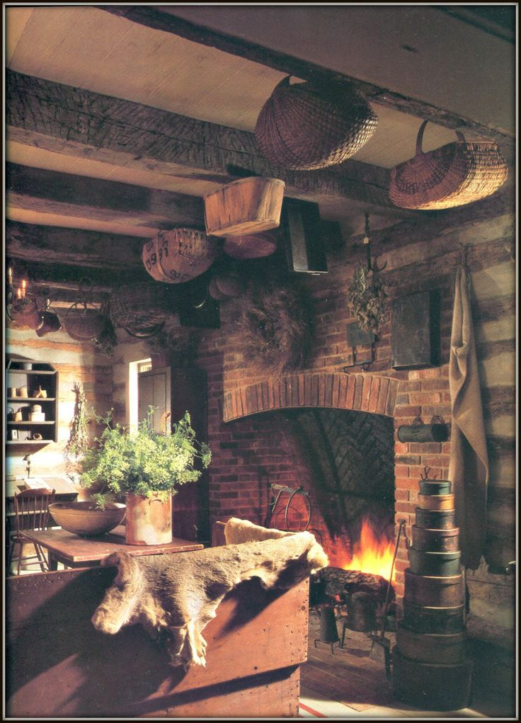 Love The Brick Mixed With The Plaster Chink Log Walls