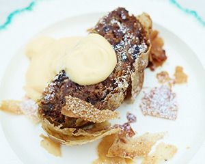 """Jamie says: """"My mantra this year is not to waste any food at Christmas, and this pudding is a perfect example of how a simple packet of filo pastry can turn leftovers or unwanted gifts into a cracking new dessert."""""""