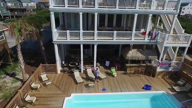 Drone View Topsail Beach Rental House (wedding friendly)