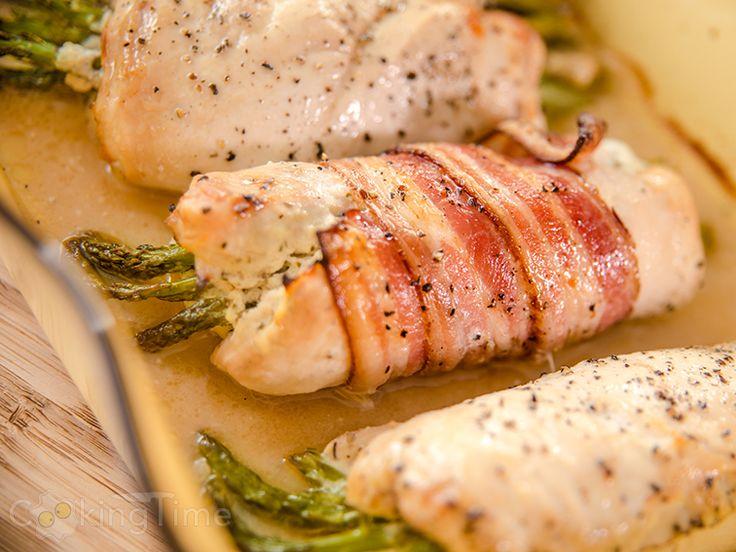 Куриные Рулетики со Сливочным Сыром и Спаржей | CookingTime.ru