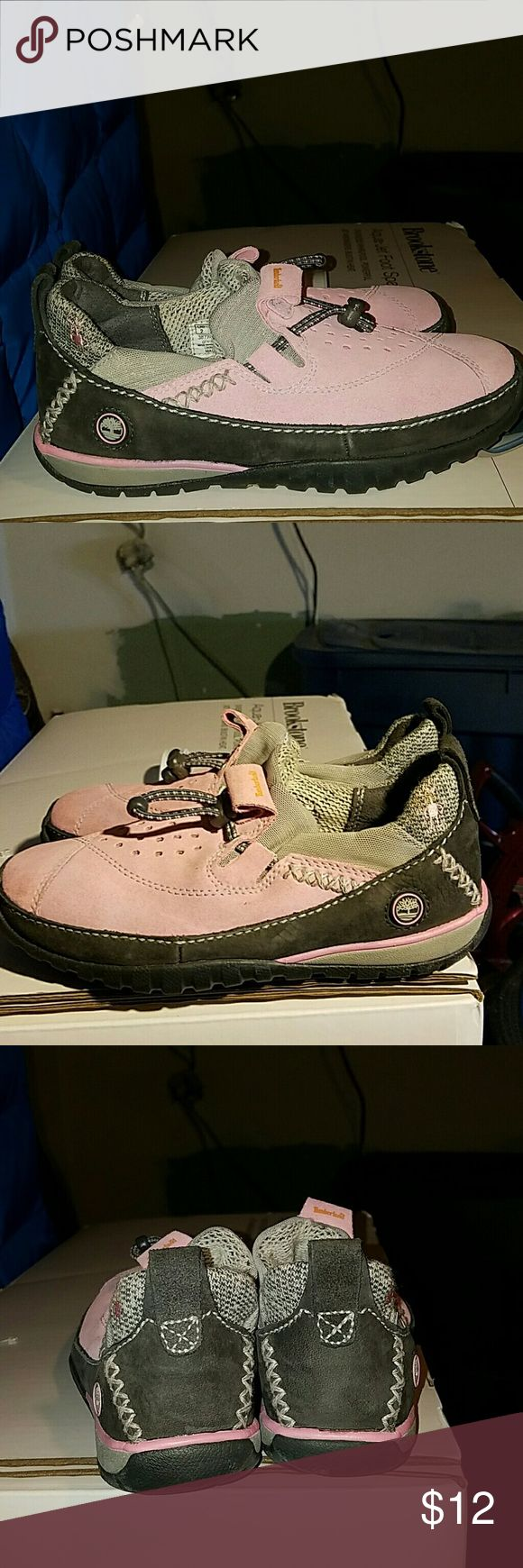 Girl timberlands Pink and grey timberland. Worn once Timberland Shoes