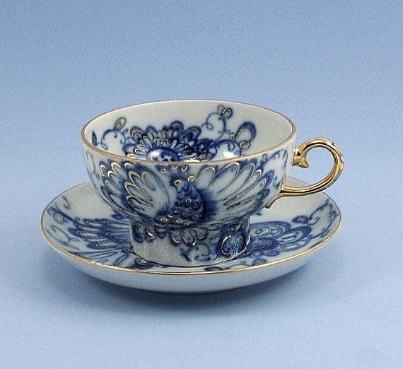 russian tea cups | Vintage Tea Cup and Saucer Lomonosov Singing Garden Porcelain Cobalt ...