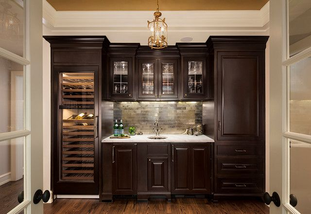 Chic Butler's Pantry Combined With Wine Cellar And Wet Bar
