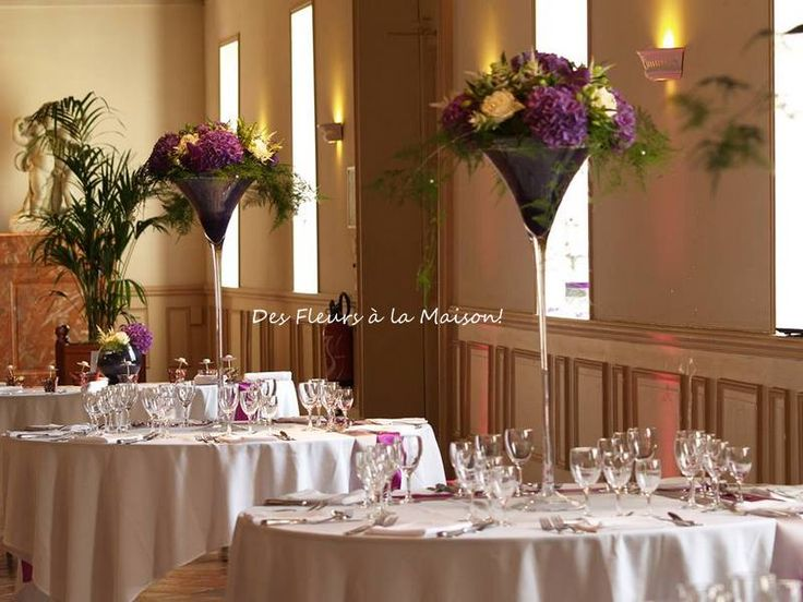 D co de salle centre de table verre martini mariage - Grand verre a pied centre de table ...