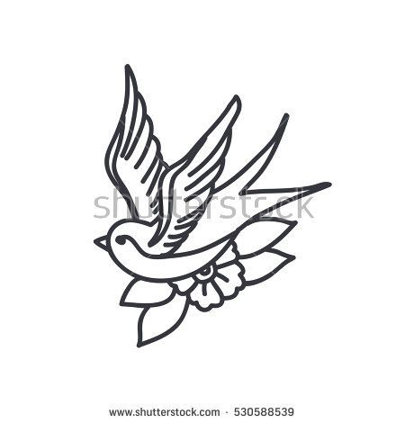 doodle icon. swallow. traditional tattoo flash. vector