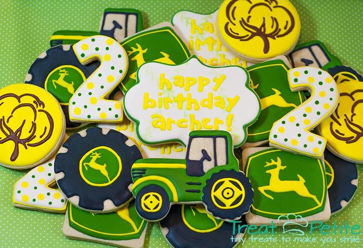 John Deere Tractor Cookies.  John Deere, tractor, cotton boll, logo cookie, decorated cookies, sugar cookies, cookie cutter, birthday cookies, boy birthday.