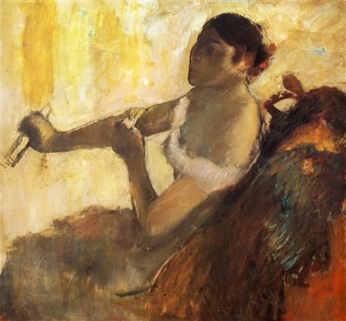 Seated Woman pulling her glove - Edgar Degas - Completion Date: 1890