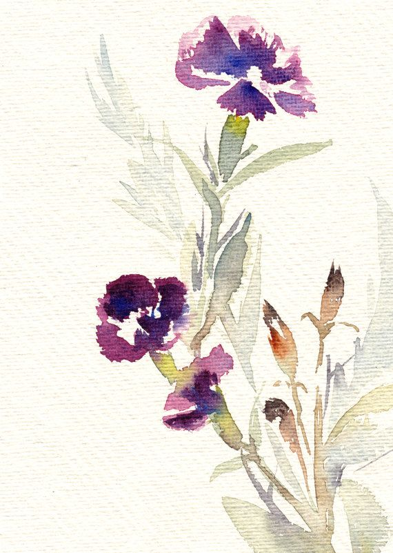 Original Watercolor Painting, Minimalist Flowers Painting, Floral Watercolour…