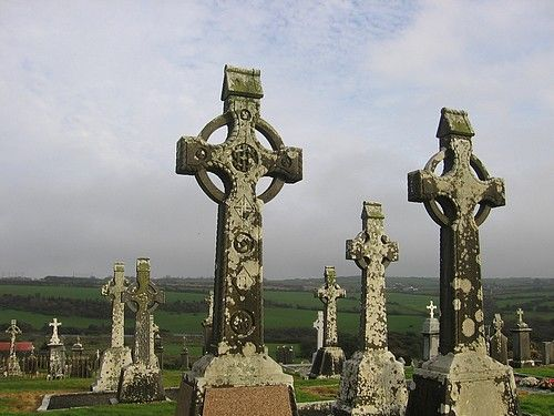 Celtic crosses in an Irish graveyard