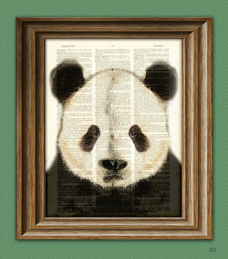 Panda Bear Art Print beautifully upcycled vintage dictionary page book art print. $7.99, via Etsy.