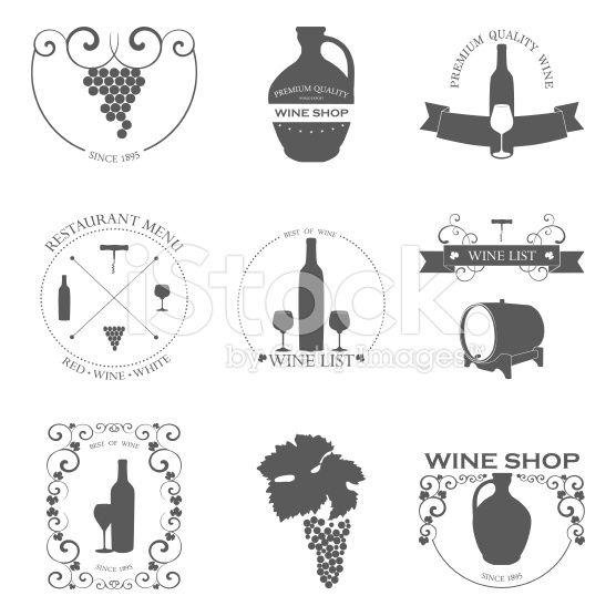 Vector set di etichette di vino con design grafico. arte vettoriale stock royalty-free