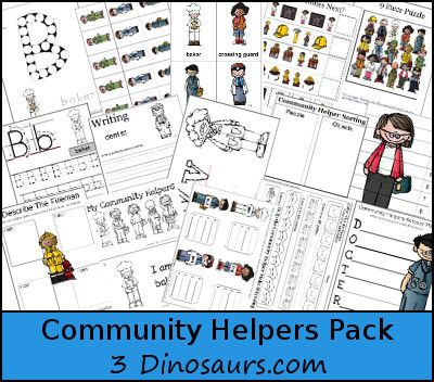 Here is a FREE Community Helpers Pack from 3 Dinosaurs. It includes:    Community Helpers Pack contains over 190 pages: (part 1) Large