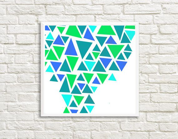 Blue and Green Triangles Art High Resolution by LittleLotusFlowers