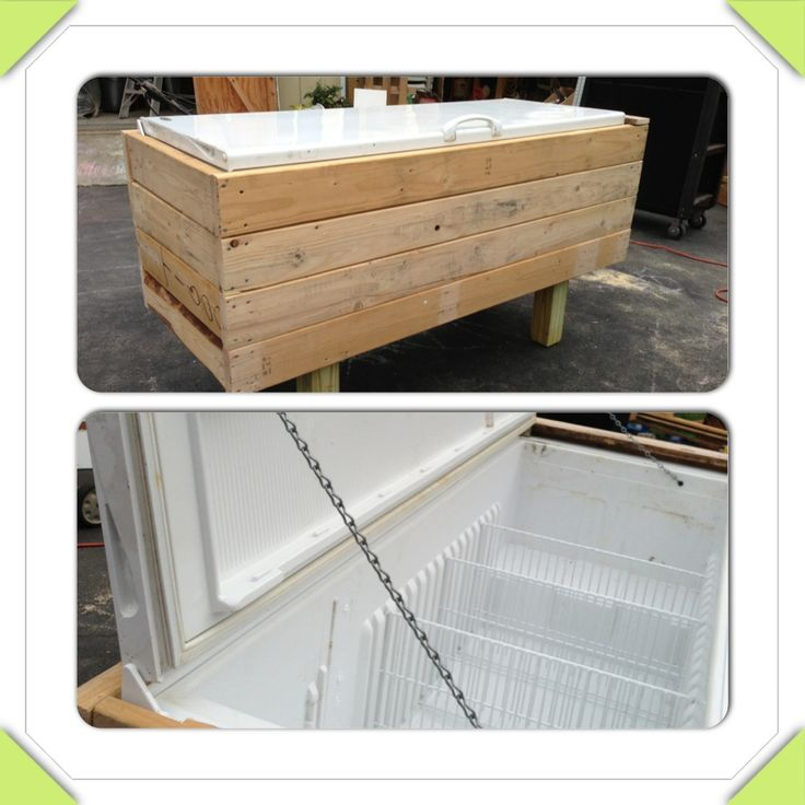 Party sized cooler made for free. Old 5' non working fridge w/1 door. Mechanics removed. Covered with slats from pallets. Leftover 4x4 for legs. Chain attached to interior cabinet and door to keep door from going past 90*.  Hole to outside from where coils went omit freezer section used as drain plug removable shelves can be used to separate beverage types. In winter use it as patio cushion storage