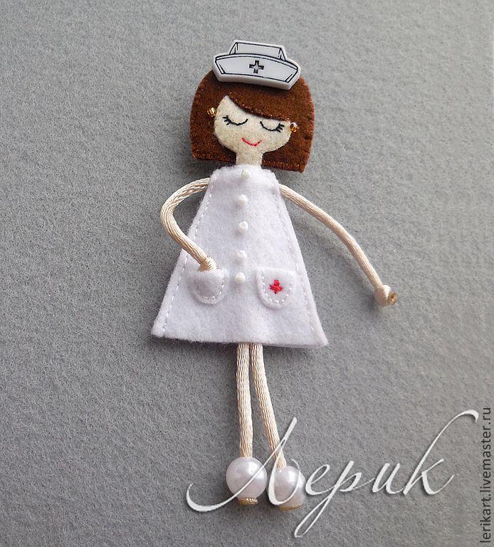 """Купить Брошка """"Медсестра"""" - медсестра, врач, доктор, медик, медицинский работник, подарок медсестре, медработник"""