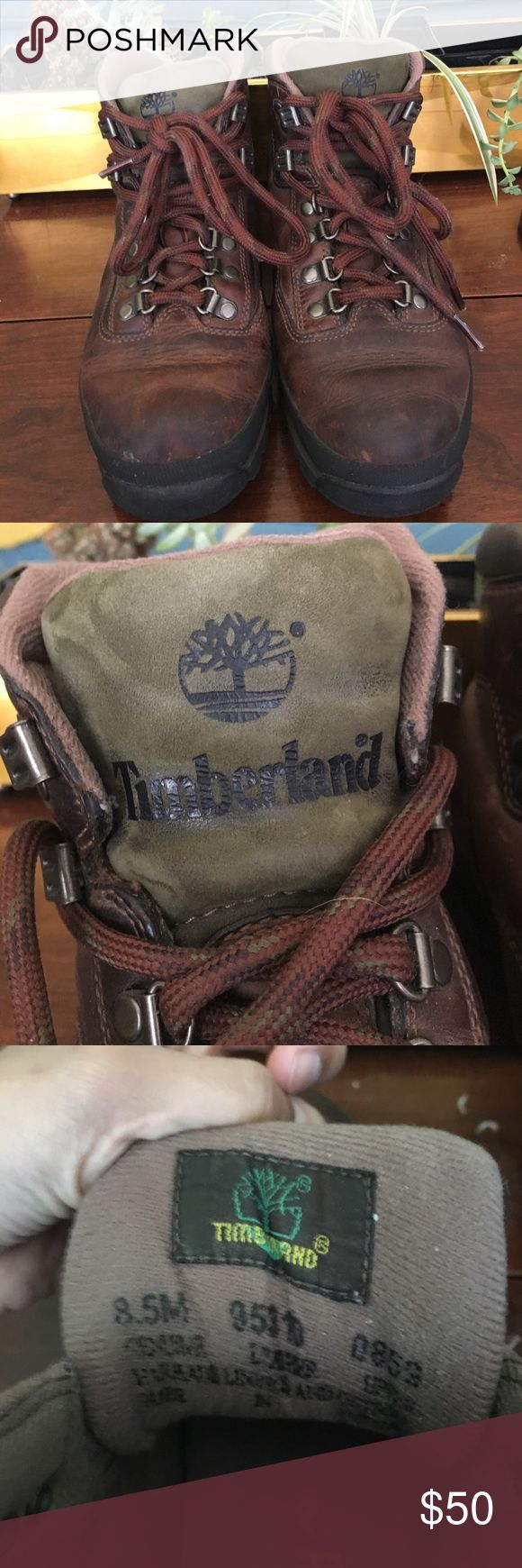 Timberland Leather Boots Excellent condition brown Timberland boots. Only a few scuffs, laces are in perfect condition. Green tongue with logo Timberland Shoes Lace Up Boots
