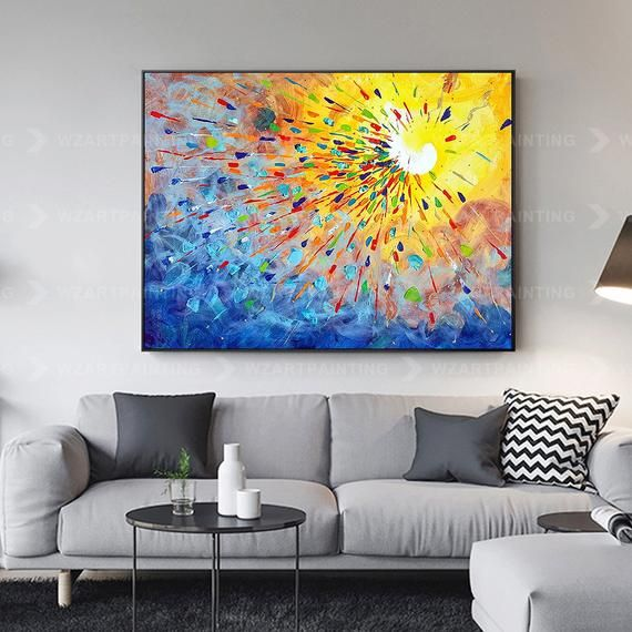 Framed Wall Art Yellow Blue Red Abstract Print On Canvas Etsy Abstract Wall Art Canvas Painting Canvas Prints