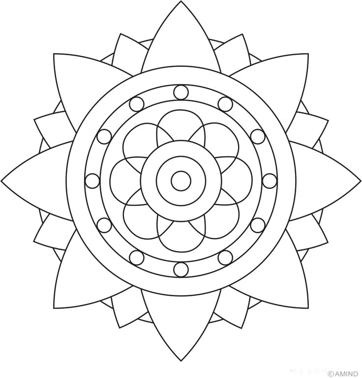 easy flower mandala coloring pages - photo#21