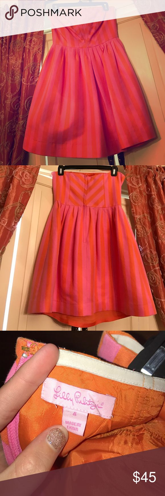 Lilly Pulitzer Dress This fun Pink and Orange strapless Lilly dress is perfect for any occasion. It can be dressed up, as well as down. It has only been worn twice and is in great condition! Lilly Pulitzer Dresses Strapless