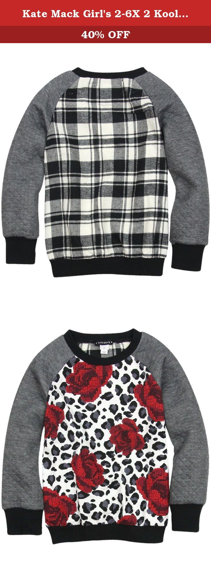 Kate Mack Girl's 2-6X 2 Kool 4 School Sweatshirt, Multi - Size 5. Other than the comfy fit she knows and loves, there's nothing ordinary about this eclectic sweatshirt. Featuring a rose and animal print on the front and a cheery black and ivory plaid on the back, the waffle knit raglan sleeves add an unexpected texture. Sure to jazz up any outfit this season!.