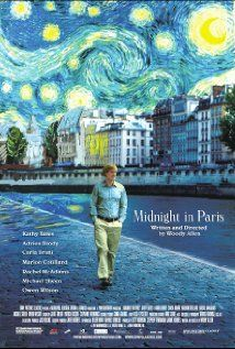 "Midnight in Paris (2011) Directed by Woody Allen.   Starring Owen Wilson, Rachel McAdams, and Kathy Bates. ""Nostalgia is denial - denial of the painful present... the name for this denial is golden age thinking- the erroneous notion that a different time period is better than the one one's living in."""