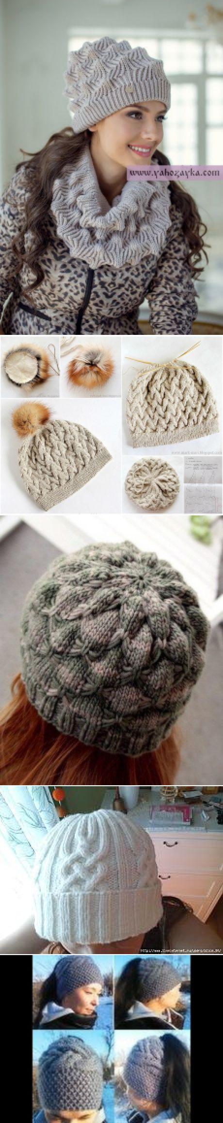 схема вязания теплой шапки адидас