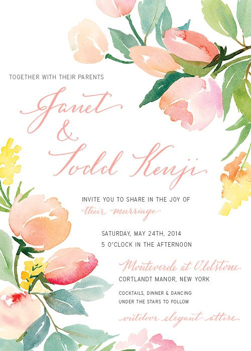 Floral watercolor garden wedding invitation.