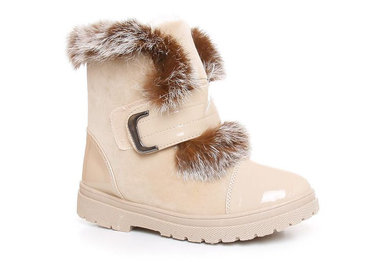 Ocieplane botki śniegowce /G7-1 Z276 Sx427/ Beżowe | sklep z butami Pantofelek24.pl