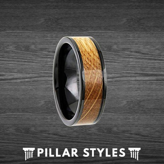 94cb52d35f8ee Whiskey Barrel Ring Tungsten Wedding Band Mens Ring - Wood Inlay ...