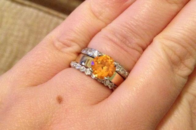 2.5ct 8mm Loliondo Spessartite by Gene Flanigan precisiongem.com 18kt Jabel ring