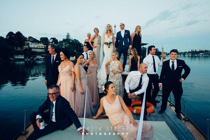 Wedding party posing as in Vanity Fair :) #sydneywedding #boatwedding #sydneyclassicboatcharter